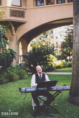 Playing my keyboard for a wedding ceremony at Castle Green