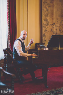 Playing the piano for cocktail hour at Castle Green
