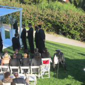 Jeremy Weinglass and violinist playing wedding ceremony at Bel Air Bay Club