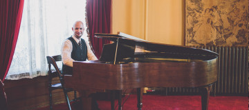 Jeremy Weinglass plays piano at Castle Green in Pasadena